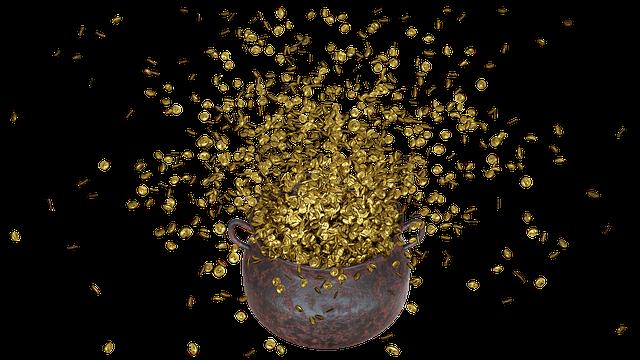poklad, kotel peněz, zlaté mince